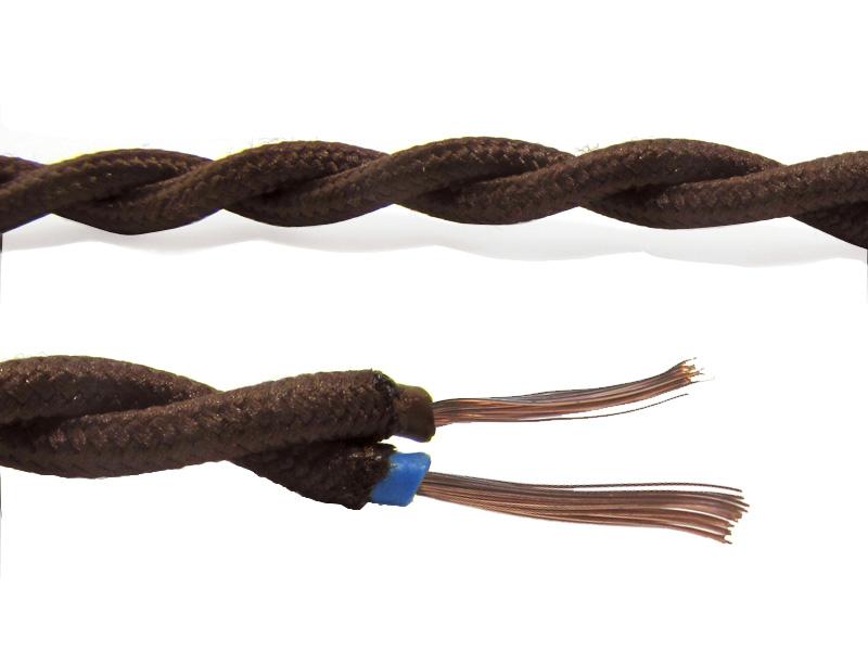 Fil lectrique torsad coton de soie thermo soudable l 39 ancienne luminaires appliques anciennes - Fil electrique marron ...